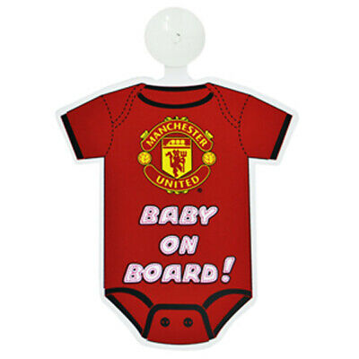 Official Manchester United FC Kit Baby On Board Sign With Suction Pad NEW