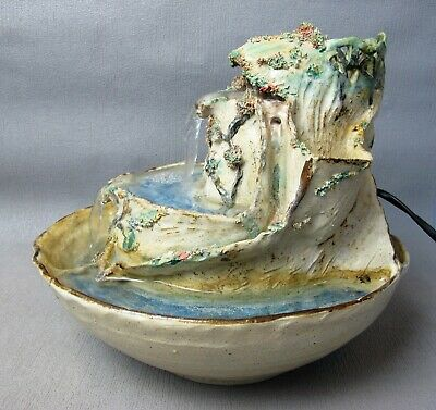 Vintage Art Studio Pottery indoor Water Fountain with a pump. Pond & lilies.