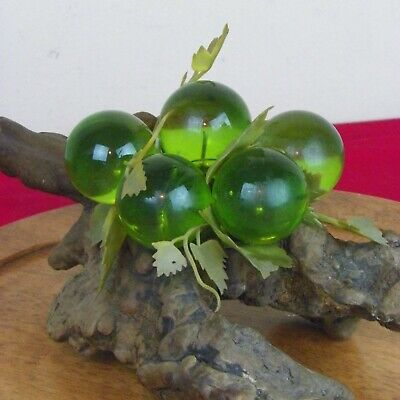 Mid Century Modern Lucite Grapes Cluster Driftwood 13 X 6  Green Vintage