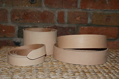 "3.6/4mm NATURAL VEG TAN LEATHER BELT BLANK STRAP 54"" LONG + KEEPER LEATHER"