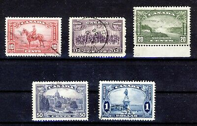 5x Canada used stamps; George V Pictorial  Issue #223 to 227 Most VF CV= $25.00
