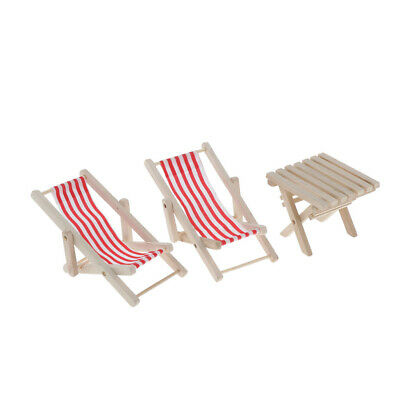 1/6 Dollhouse Swimming Pool Wood Red Striped Beach Deck Chair & Table Set