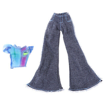 Fashion Summer Short Sleeve & Flares Pants Clothes Set for 9inch Doll Accs