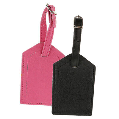 Pack of 2 Pu Leather Luggage Tag Bag Tag Business Name Address ID Label Card
