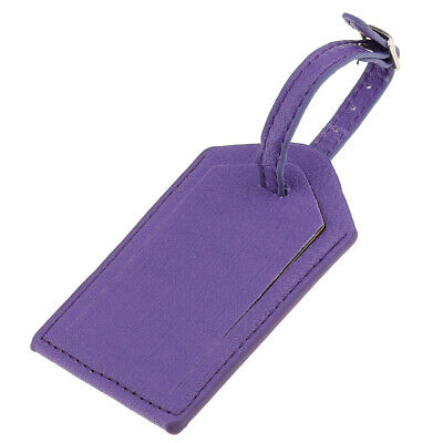 Leather Luggage Bag Tag Travel Accessories Suitcase Tags Name Card Purple