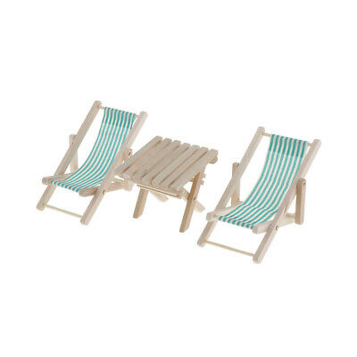 1/6 Dollhouse Swimming Pool Wood Green Striped Beach Deck Chair & Table Set