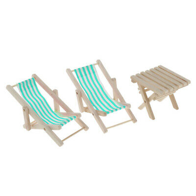 1/6 Dollhouse Swimming Pool Wood Blue Striped Beach Deck Chair & Table Set