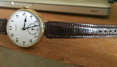 1930s 9K/CT Solid Gold JW Benson Trench Style Watch Dennison Case