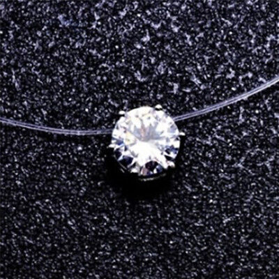 Invisible Transparent Fish Line Zircon Pendant Necklace Choker Women Jewelry  IT