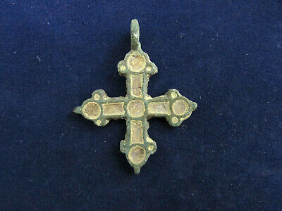 Ancient bronze cross in enamel, Vikings, Kyivan Rus 12-13 AD