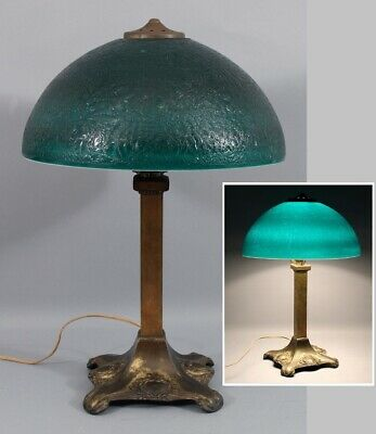 Antique Pittsburgh Chipped-Ice Textured Cased Green Glass Table Lamp Shade, NR