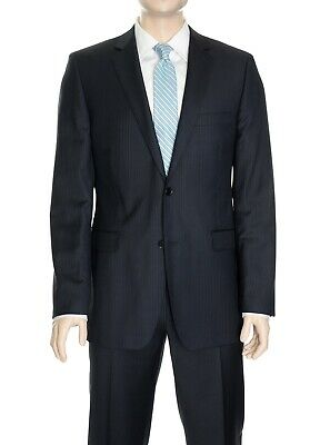 $650 DKNY Mens Slim Fit Blue striped Two Button 100% Wool Suit 36R 29W