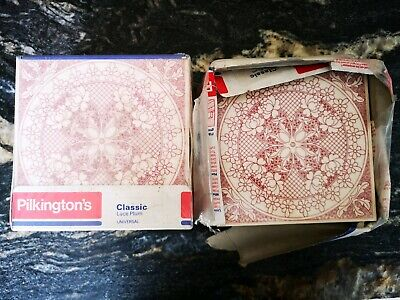 Vintage Unused Pilkington Glazed Classic Lace Plum Tiles