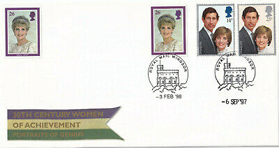 (31656) GB FDC Princess Diana Day of Funeral DOUBLE DATED Windsor 1997 1998