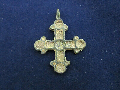 Ancient bronze cross in enamel, Vikings, Kyivan Rus 12-13 AD. Unilateral