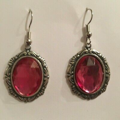 Victorian Style Silver Plated Hot Pink Acrylic Crystal Oval Drop Earrings Hook