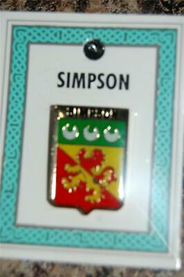 SIMPSON Family PIN LAPEL Coat of Arms - Heraldic Crest - Clip Badge - Brooch