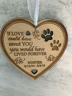 Personalised Wooden Hanging Heart Pet Memorial Plaque Keepsake Cat Dog Paw Print