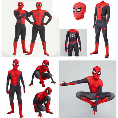 UK Spider-Man: Far From Home Spiderman Adults Kids Jumpsuit Cosplay Costume Mask