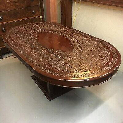 Incredible Antique Hand Carved & Inlaid Brass Oval Rosewood Table Stained