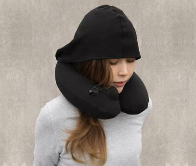 Travelmall Switzerland Inflatable Neck Pillow w/ Patented Pump and Foldable Hood