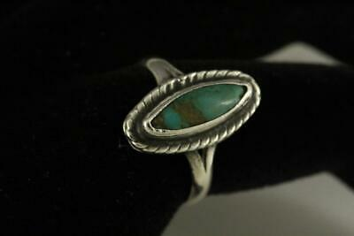 Signed GC 925 Fine Estate Jewelry Sterling Silver Turquoise Ring Size 6.5