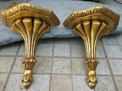 Vintage Beautiful Pair Corbel Wall Shelf Bracket Art Wood Carved Gilt Gilded