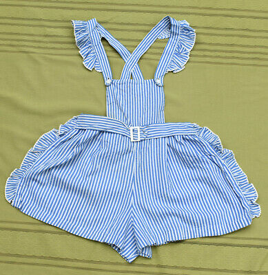 vtg 30's 40's baby toddler striped cotton ROMPER jumper mother of pearl buckle