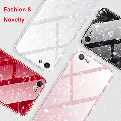 Luxury Bling Diamond Marble Tempered Glass Case Cover For iPhone 7 Plus 8 XR 11