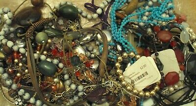 JobLot of tangled/broken costume jewellery different styles great lot 9-5-j5