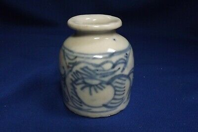Antique Chinese Export Blue & White Canton Ink Bottle With Export Seal 1860s