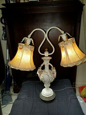 Vintage French Porcelain Flowers Double Arm Urn Table Lamp Original Shades