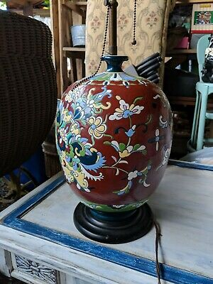 ANTIQUE ARTS & CRAFTS  POTTERY LAMP ORNATE  colorful  old