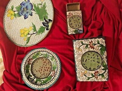Set 5 ANTIQUE CHINESE CLOISONNE ENAMEL Blue Footed HUMIDOR BOX 2 Plates Matchbox