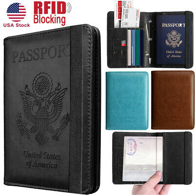 RFID Blocking Slim Leather Travel Passport Holder Credit Card Wallet Case Cover