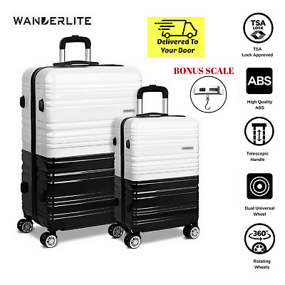 Travel Suitcase Set TSA Lock Hard Shell Case Black White Luggage Lightweight NEW