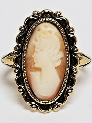 Vintage Signed UNCAS 14K Gold Electro Plate Genuine Carved CAMEO Ring US Size 8