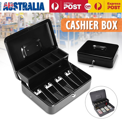 Portable Security Lockable Cash Box Tiered Tray Money Drawer Safe Storage AU