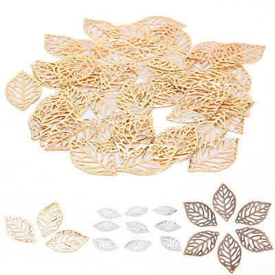 50Pcs Leaves Filigree DIY Accessories Metal Crafts Connector Jewelry Making Kits