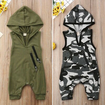 AU Sleeveless Newborn Baby Boy Summer Camo Hooded Romper Jumpsuit Outfit Clothes