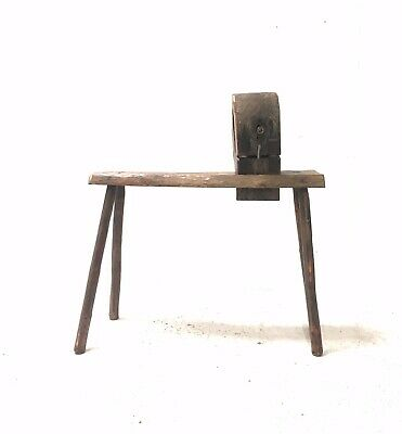 Antique 19th Century Oak Primitive Industrial Horse Work Bench with Vice