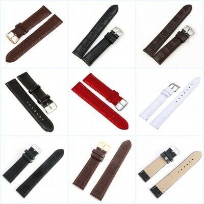 12-22mm Women Men PU Leather Wrist Watch Band Strap Stainless Steel Buckle Belt