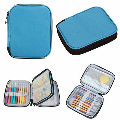 2 Layer Crochet Hook Knitting Needles Storage Bag Zipper Organizer Mesh Pouch