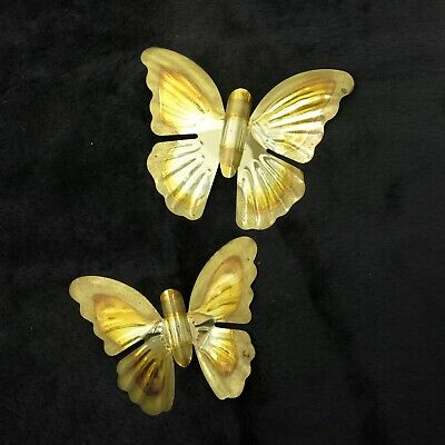 Vintage 70's Mid Century Brass Butterfly Wall Decor Set of 2 Butterflies Boho