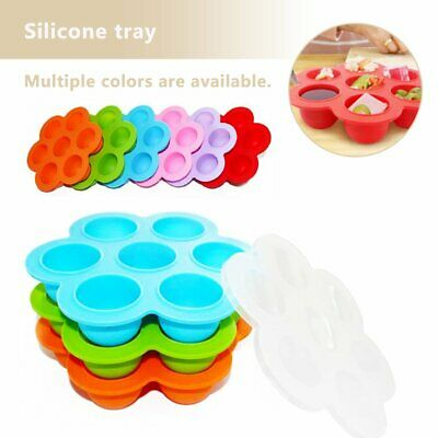 Silicone Kid Baby Food Container Storage Silicone Freezer 7 Cavity Trays Lid %N