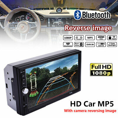 """7"""" Double Din Car MP5 Player Touch Screen Stereo Radio Bluetooth HOT + Camera UK"""