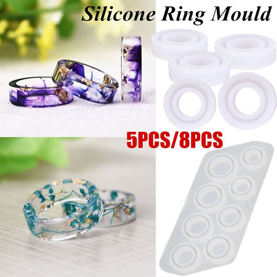 5/8Pcs Silicone Ring Mold For Resin Jewelry Casting Mould Making DIY Craft Tools