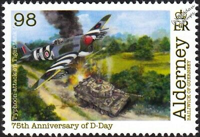 WWII D-Day RAF Hawker TYPHOON Aircraft Attacks German Army TIGER Tank Stamp