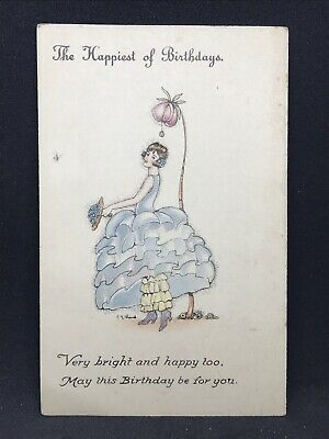 Vintage Art Deco Postcard HAPPY BIRTHDAY by C.E. Shand, National Series 1930s