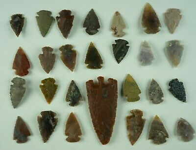 "27 PC Flint Arrowhead Ohio Collection Points 1-3"" Spear Bow Stone Hunting 1539"